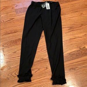 Intermix Black Pants with ruffled bottom